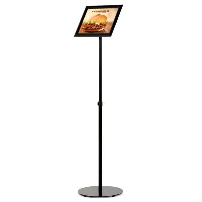 Floor-Sign-Stand-Holder-With-Telescoping-Pole-Black-Snap-Frame-8.5x11-01