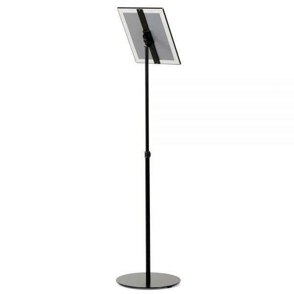 Floor-Sign-Stand-Holder-With-Telescoping-Pole-Black-Snap-Frame-8.5x11-11