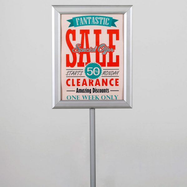 Floor-Sign-Stand-Holder-With-Telescoping-Pole-Silver-Double-Sided-Slide-In-Frame-8.5x11