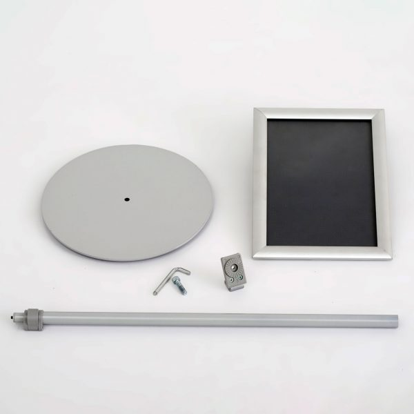 Floor-Sign-Stand-Holder-With-Telescoping-Pole-Silver-Snap-Frame-11x17
