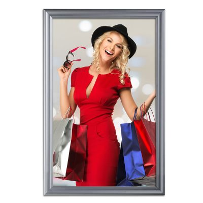 Fancy Frame 27 X 40 Poster Size 1.58 Silver Color Profile, Mitered Corner