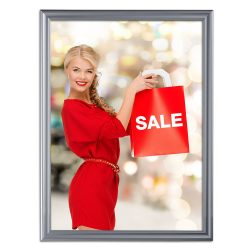 Fancy Frame 36 X 48 Poster Size 1.58 Silver Color Profile, Mitered Corner