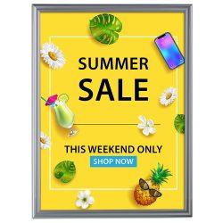 Fancy Frame 40 X 60 Poster Size 1.58 Silver Color Profile, Mitered Corner