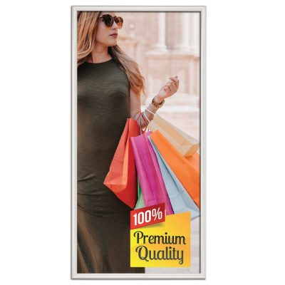 18x36 Snap Poster Frame - 1 inch Silver Mitered Profile