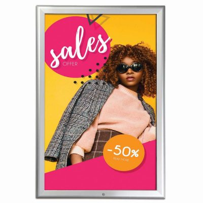 Lockable Snap Frame 20 X 30 Poster Size 1.25 Silver Color Profile, Mitered Corner