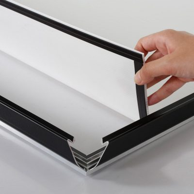 Portable 1.25 Snap Frame, mitred, 27x40, black, white backing, clear cover-16