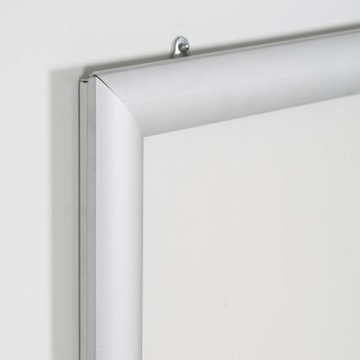Portable 1.77 Snap Frame, mitred, 27x40, silver, white backing, clear cover-19