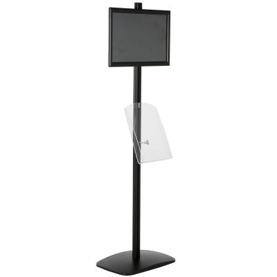 free-standing-stand-in-black-color-with-1-x-11X17-frame-in-portrait-and-landscape-and-1-x-8.5x11-clear-shelf-in-acrylic-single-sided-11