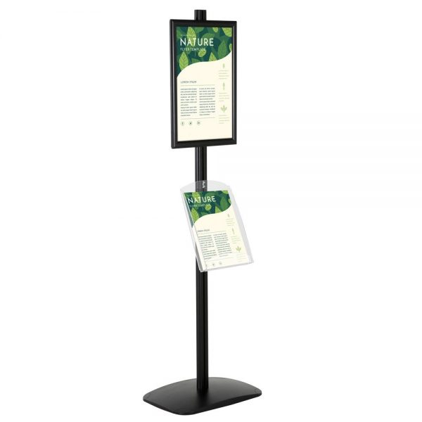 free-standing-stand-in-black-color-with-1-x-11X17-frame-in-portrait-and-landscape-and-1-x-8.5x11-clear-shelf-in-acrylic-single-sided-5