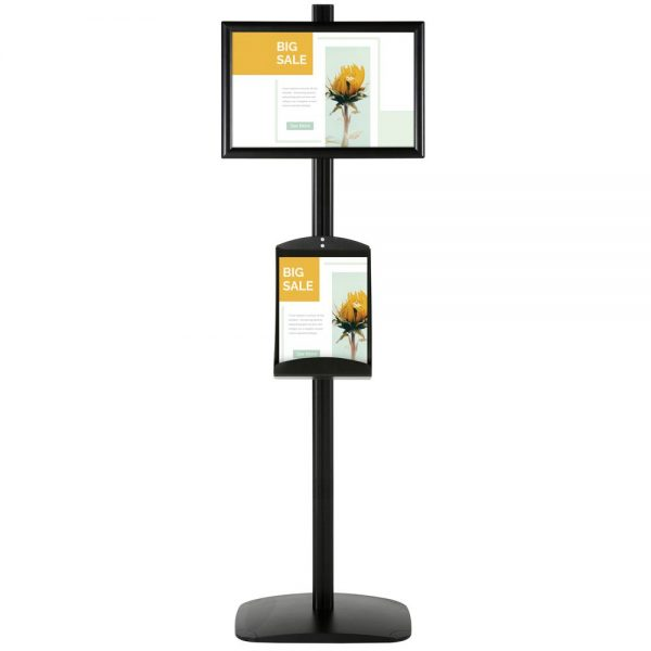 free-standing-stand-in-black-color-with-1-x-11X17-frame-in-portrait-and-landscape-and-1-x-8.5x11-steel-shelf-single-sided-4