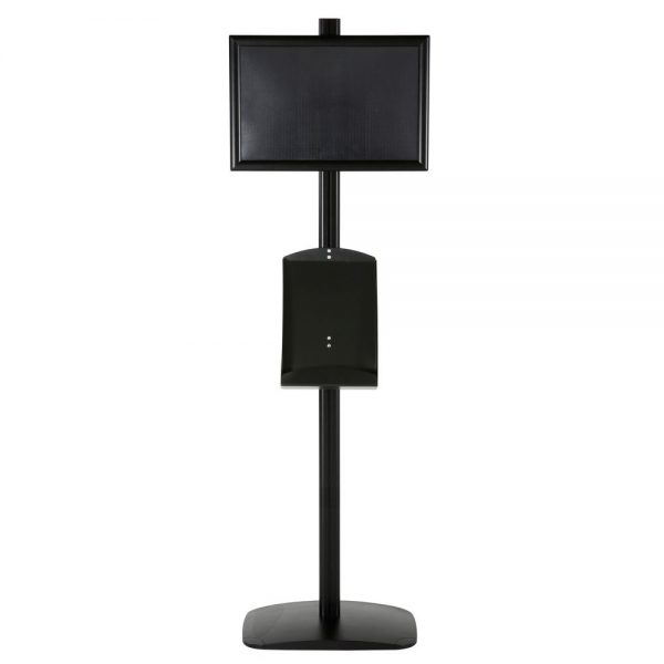 free-standing-stand-in-black-color-with-1-x-11X17-frame-in-portrait-and-landscape-and-1-x-8.5x11-steel-shelf-single-sided-5