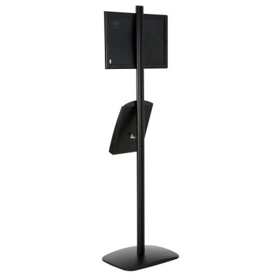 free-standing-stand-in-black-color-with-1-x-11X17-frame-in-portrait-and-landscape-and-1-x-8.5x11-steel-shelf-single-sided-7