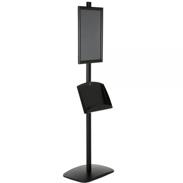 free-standing-stand-in-black-color-with-1-x-11X17-frame-in-portrait-and-landscape-and-2-x-5.5x8.5-clear-pocket-shelf-single-sided-11