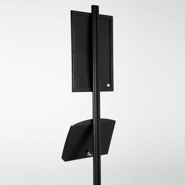 free-standing-stand-in-black-color-with-1-x-11X17-frame-in-portrait-and-landscape-and-2-x-5.5x8.5-clear-pocket-shelf-single-sided-15