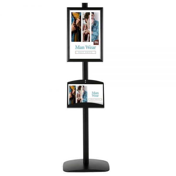 free-standing-stand-in-black-color-with-1-x-11X17-frame-in-portrait-and-landscape-and-2-x-5.5x8.5-clear-pocket-shelf-single-sided-4