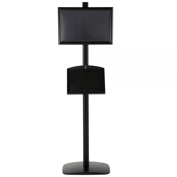 free-standing-stand-in-black-color-with-1-x-11X17-frame-in-portrait-and-landscape-and-2-x-5.5x8.5-clear-pocket-shelf-single-sided-5