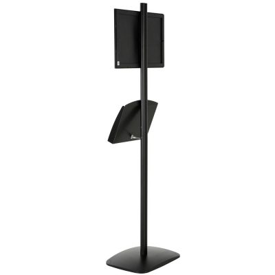 free-standing-stand-in-black-color-with-1-x-11X17-frame-in-portrait-and-landscape-and-2-x-5.5x8.5-clear-pocket-shelf-single-sided-9