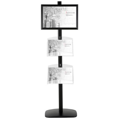 free-standing-stand-in-black-color-with-1-x-11X17-frame-in-portrait-and-landscape-and-2-x-8.5x11-clear-shelf-in-acrylic-single-sided-4