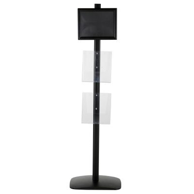 free-standing-stand-in-black-color-with-1-x-8.5X11-frame-in-portrait-and-landscape-and-2-x-8.5x11-clear-pocket-shelf-single-sided-12