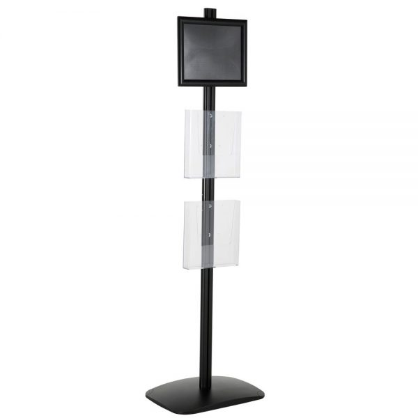 free-standing-stand-in-black-color-with-1-x-8.5X11-frame-in-portrait-and-landscape-and-2-x-8.5x11-clear-pocket-shelf-single-sided-13