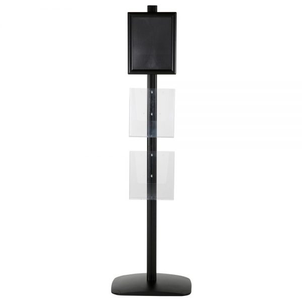 free-standing-stand-in-black-color-with-1-x-8.5X11-frame-in-portrait-and-landscape-and-2-x-8.5x11-clear-pocket-shelf-single-sided-5