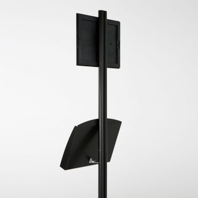 free-standing-stand-in-black-color-with-1-x-8.5x11-frame-in-portrait-and-landscape-and-2-x-5.5x8.5-steel-shelf-single-sided-8