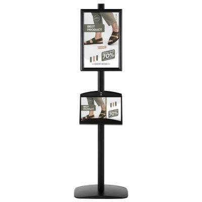free-standing-stand-in-black-color-with-2-x-11X17-frame-in-portrait-and-landscape-and-2-x-5.5x8.5-steel-shelf-double-sided-4