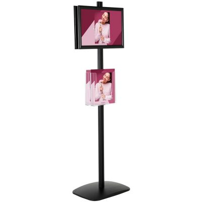 free-standing-stand-in-black-color-with-2-x-11X17-frame-in-portrait-and-landscape-and-2-x-8.5x11-clear-pocket-shelf-double-sided-4