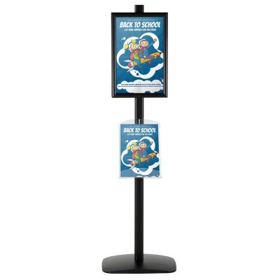 free-standing-stand-in-black-color-with-2-x-11X17-frame-in-portrait-and-landscape-and-2-x-8.5x11-clear-shelf-in-acrylic-double-sided-4