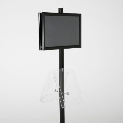 free-standing-stand-in-black-color-with-2-x-11X17-frame-in-portrait-and-landscape-and-2-x-8.5x11-clear-shelf-in-acrylic-double-sided-8