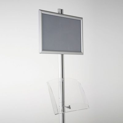 free-standing-stand-in-silver-color-with-1-x-11X17-frame-in-portrait-and-landscape-and-1-2-x-8.5x11-clear-shelf-in-acrylic-single-sided-17