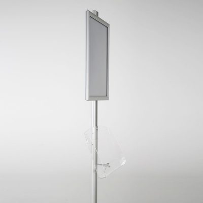 free-standing-stand-in-silver-color-with-1-x-11X17-frame-in-portrait-and-landscape-and-1-2-x-8.5x11-clear-shelf-in-acrylic-single-sided