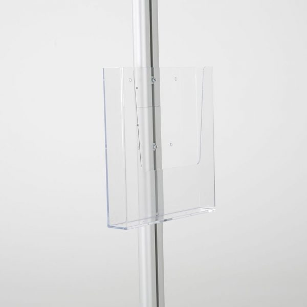 free-standing-stand-in-silver-color-with-1-x-11X17-frame-in-portrait-and-landscape-and-1-x-8.5x11-clear-pocket-shelf-single-sided
