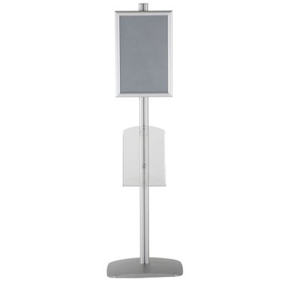 free-standing-stand-in-silver-color-with-1-x-11X17-frame-in-portrait-and-landscape-and-1-x-8.5x11-clear-shelf-in-acrylic-single-sided