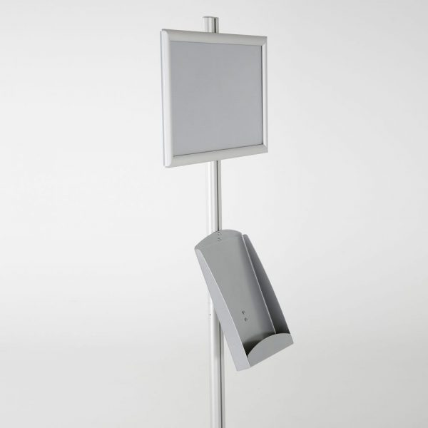 free-standing-stand-in-silver-color-with-1-x-11X17-frame-in-portrait-and-landscape-and-1-x-8.5x11-steel-shelf-single-sided
