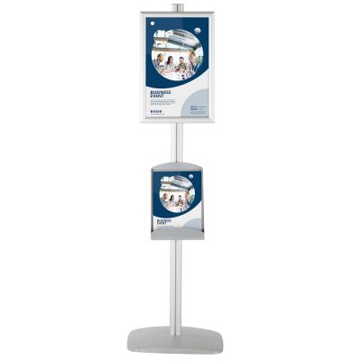 free-standing-stand-in-silver-color-with-1-x-11X17-frame-in-portrait-and-landscape-and-1-x-8.5x11-steel-shelf-single-sided-4