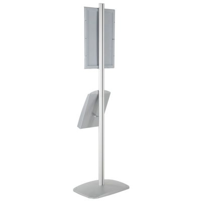 free-standing-stand-in-silver-color-with-1-x-11X17-frame-in-portrait-and-landscape-and-1-x-8.5x11-steel-shelf-single-sided-7