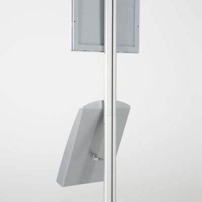 free-standing-stand-in-silver-color-with-1-x-11X17-frame-in-portrait-and-landscape-and-1-x-8.5x11-steel-shelf-single-sided-8