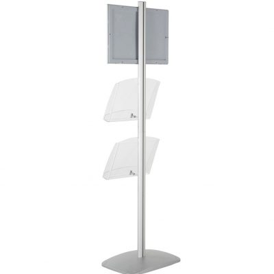 free-standing-stand-in-silver-color-with-1-x-11X17-frame-in-portrait-and-landscape-and-2-x-8.5x11-clear-shelf-in-acrylic-single-sided-10
