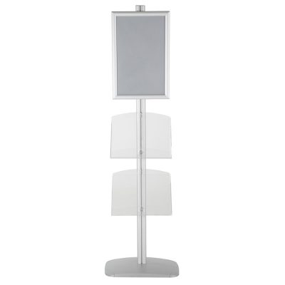 free-standing-stand-in-silver-color-with-1-x-11X17-frame-in-portrait-and-landscape-and-2-x-8.5x11-clear-shelf-in-acrylic-single-sided-12