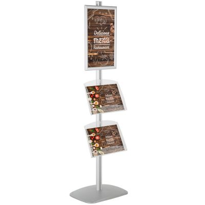 free-standing-stand-in-silver-color-with-1-x-11X17-frame-in-portrait-and-landscape-and-2-x-8.5x11-clear-shelf-in-acrylic-single-sided-4
