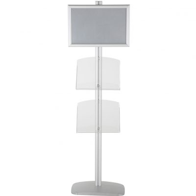 free-standing-stand-in-silver-color-with-1-x-11X17-frame-in-portrait-and-landscape-and-2-x-8.5x11-clear-shelf-in-acrylic-single-sided-5