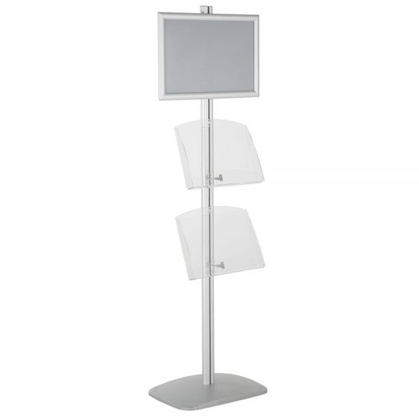 free-standing-stand-in-silver-color-with-1-x-11X17-frame-in-portrait-and-landscape-and-2-x-8.5x11-clear-shelf-in-acrylic-single-sided-6