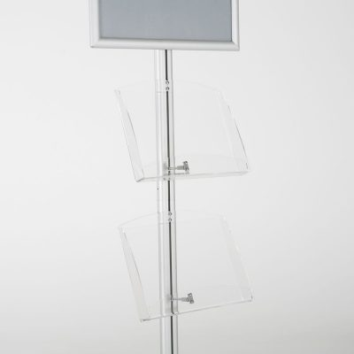 free-standing-stand-in-silver-color-with-1-x-11X17-frame-in-portrait-and-landscape-and-2-x-8.5x11-clear-shelf-in-acrylic-single-sided-8