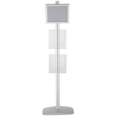 free-standing-stand-in-silver-color-with-1-x-11X17-frame-in-portrait-and-landscape-and-2-x-8.5x11-steel-shelf-single-sided-10