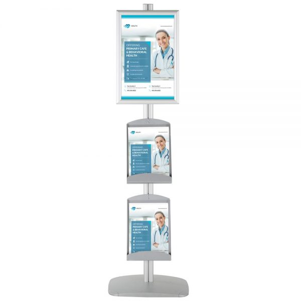 free-standing-stand-in-silver-color-with-1-x-11X17-frame-in-portrait-and-landscape-and-2-x-8.5x11-steel-shelf-single-sided-4