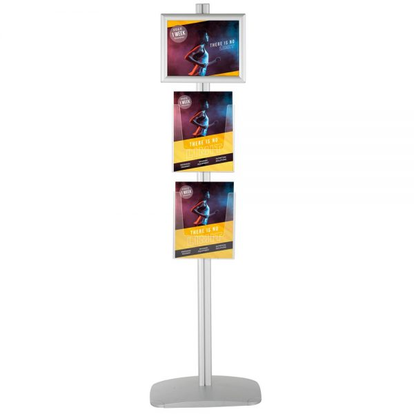 free-standing-stand-in-silver-color-with-1-x-11X17-frame-in-portrait-and-landscape-and-2-x-8.5x11-steel-shelf-single-sided-6