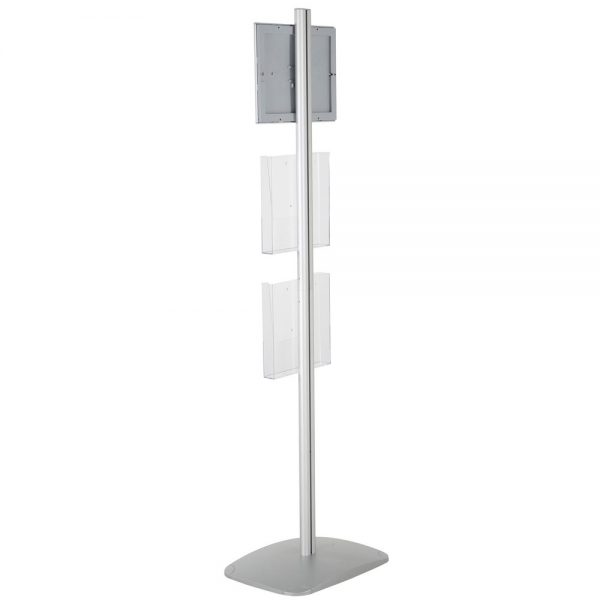 free-standing-stand-in-silver-color-with-1-x-11X17-frame-in-portrait-and-landscape-and-2-x-8.5x11-steel-shelf-single-sided-8