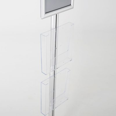 free-standing-stand-in-silver-color-with-1-x-8.5X11-frame-in-portrait-and-landscape-and-2-x-8.5x11-clear-pocket-shelf-single-sided-11