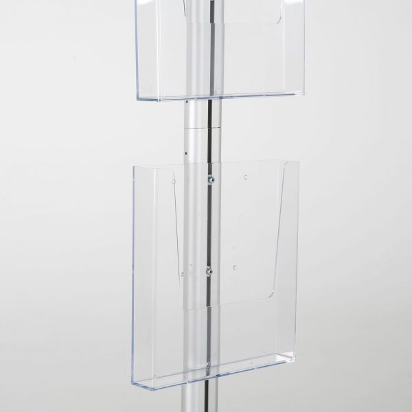 free-standing-stand-in-silver-color-with-1-x-8.5X11-frame-in-portrait-and-landscape-and-2-x-8.5x11-clear-pocket-shelf-single-sided-12